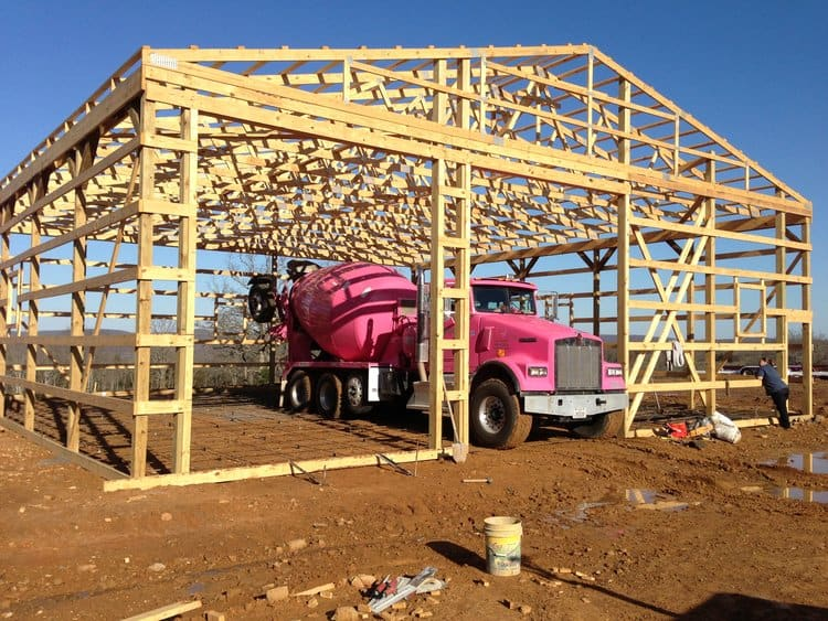 A pole barn being built in Tahlequah, OK.