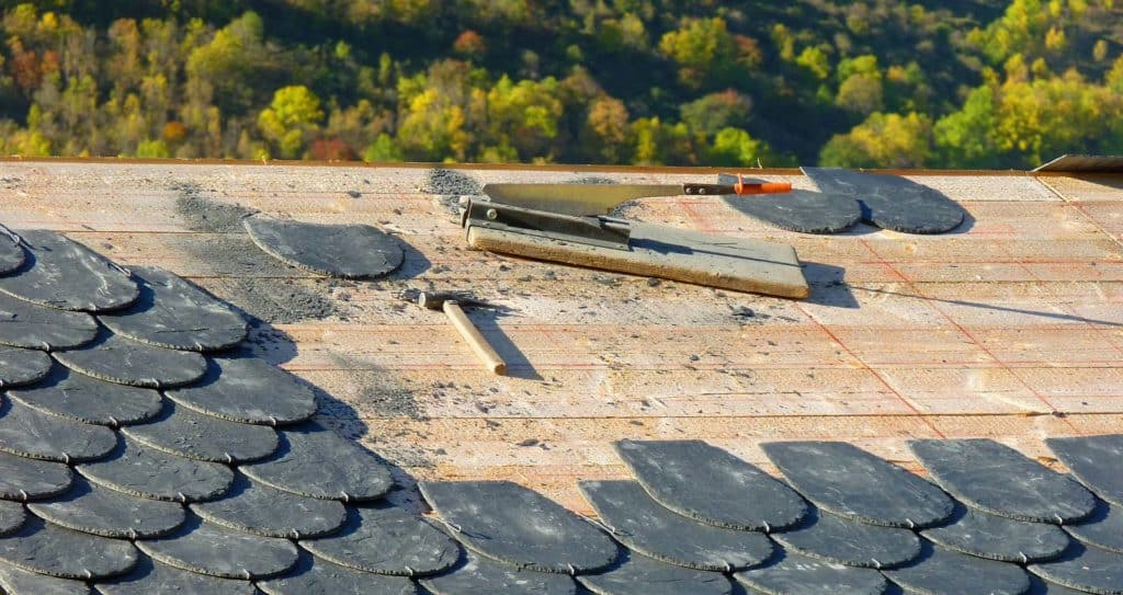 A roof repair project underway in Tahlequah, OK.